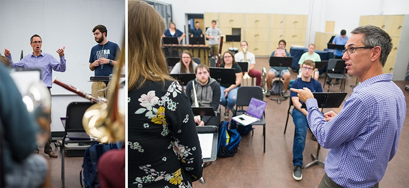 UNH professor Andrew Boysen teaching a music class