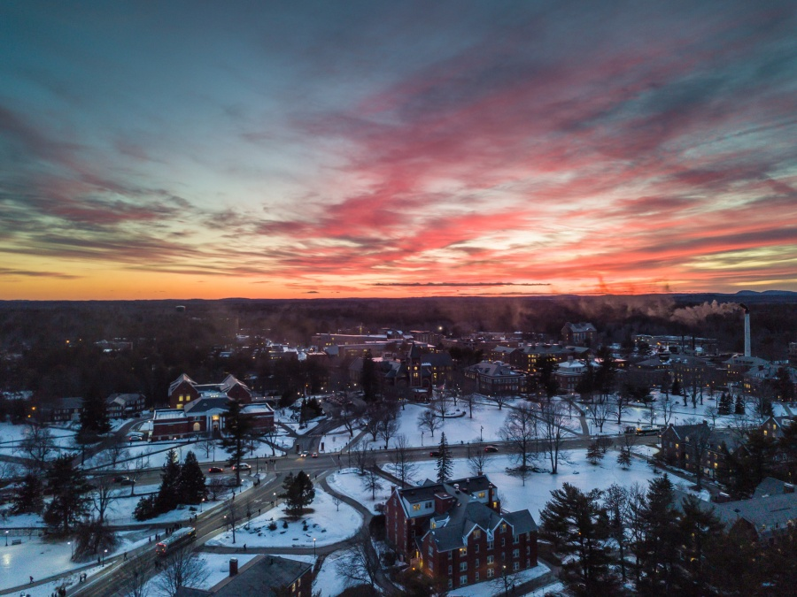 UNH Campus Aerial Sunset