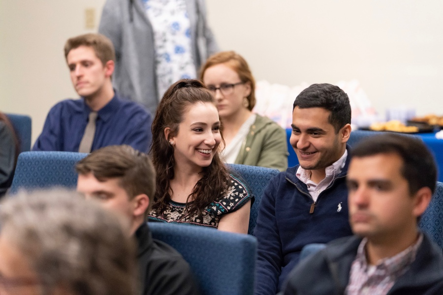 UNH Manchester students in an auditorium during the Undergraduate Research Conference 2018