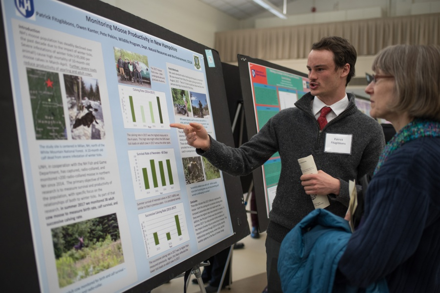 A UNH student in the College of Life Sciences and Agriculture presents the results of his research during the Undergraduate Research Conference 2018