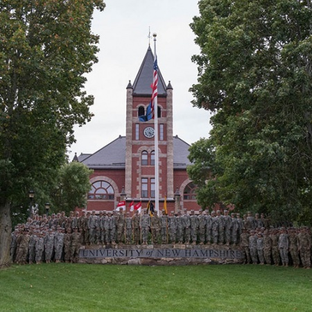 UNH ROTC Cadets and others standing in front of Thompson Hall during the 2017 ROTC Contracting Ceremony