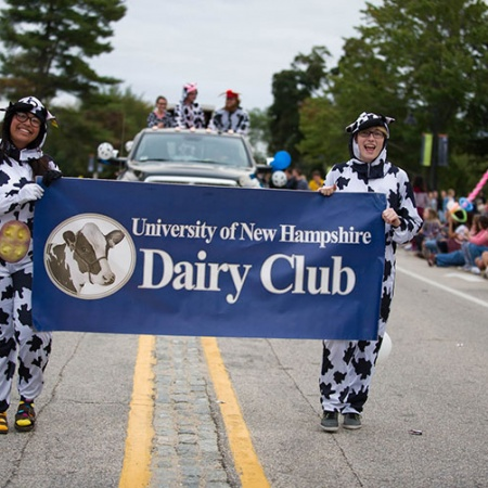 members of the UNH Dairy Club in the homecoming parade