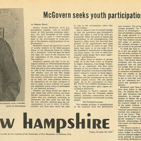 McGovern seeks youth participation in government - TNH article