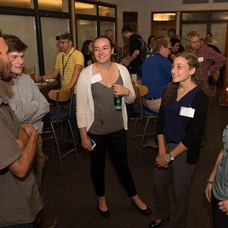 UNH students and alums at the COLSA homecoming reception