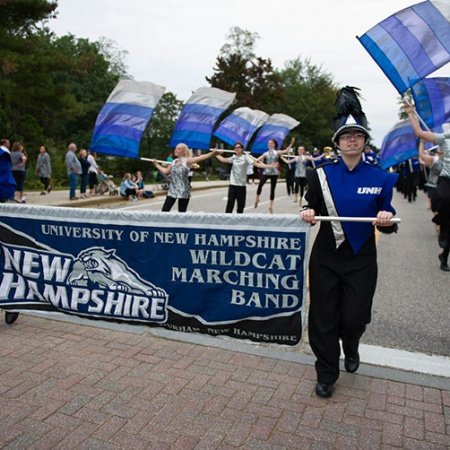 UNH marching band in the homecoming parade