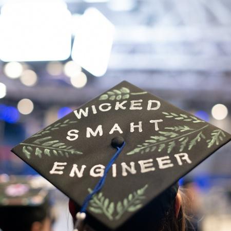 A UNH student's graduation cap