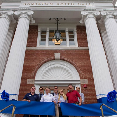 the ribbon cutting at the Hamilton Smith hall grand opening