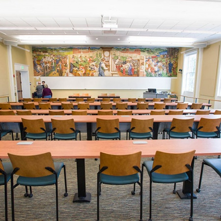 a restored mural in one of the newly renovated classrooms in Hamilton Smith Hall