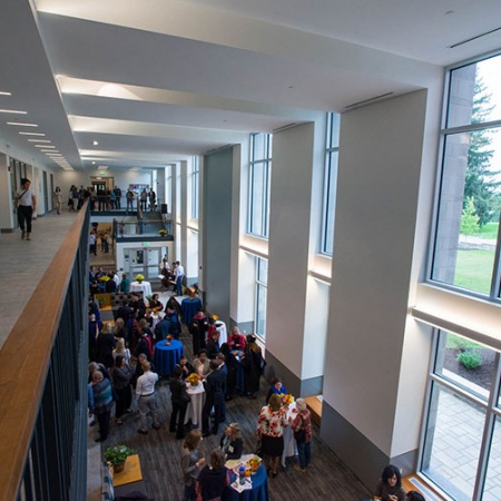 an inside hallway of the newly renovated Hamilton Smith hall at UNH