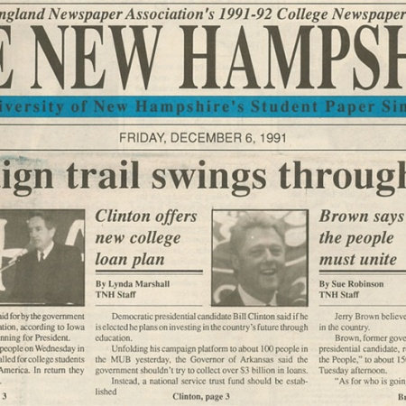 Campaign trail swings through UNH - TNH article