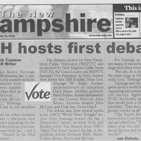 UNH hosts first debate - TNH article