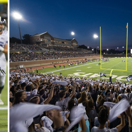 Fans pack the stands in the new football stadium