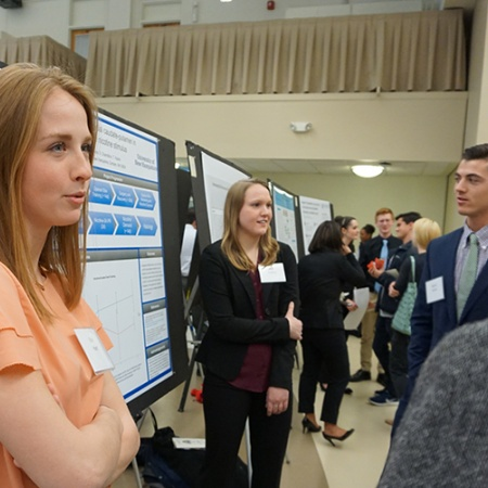 Erin Hart '18, Kelly Trainor '18, Stephanie Trusty '18 and Daniel Hertia '18 at UNH Undergraduate Research Conference