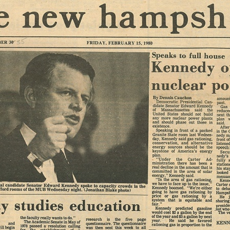 Kennedy opposes nuclear power; Speaks to full house - TNH article