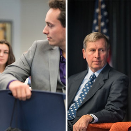 UNH Manchester students speaking with Manchester's new mayor