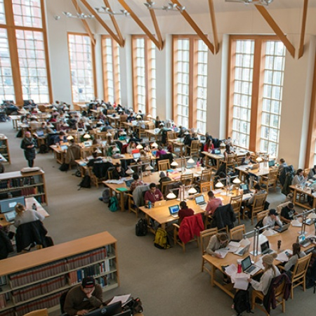 UNH students studying in Dimond Library