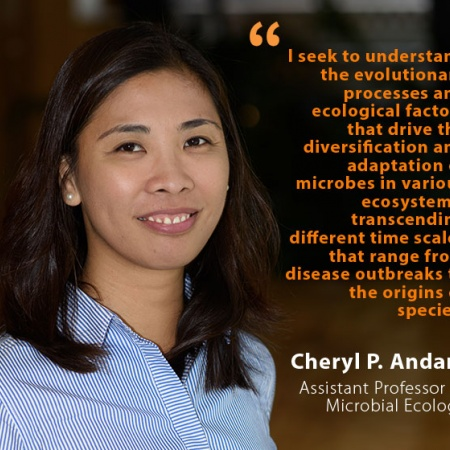 Cheryl P. Andam, UNH Assistant Professor of Microbial Ecology, and quote