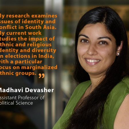 Madhavi Devasher, UNH Assistant Professor of Political Science, and quote