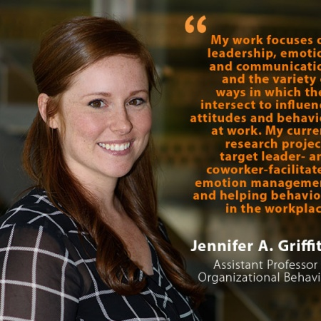 Jennifer A. Griffith, UNH Assistant Professor of Organizational Behavior, and quote