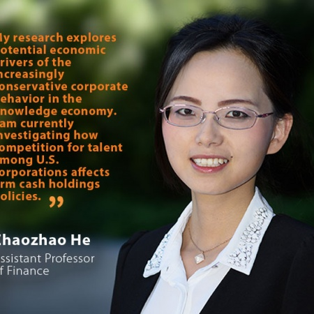 Zhaozhao He, UNH Assistant Professor of Finance, and quote