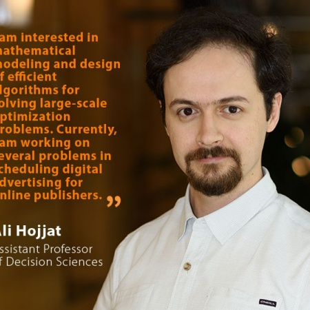 Ali Hojjat, UNH Assistant Professor of Decision Sciences, and quote
