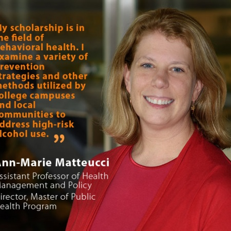 Ann-Marie Matteucci, UNH Assistant Professor of Health Management and Policy and Director of the Master of Public Health Program, and quote