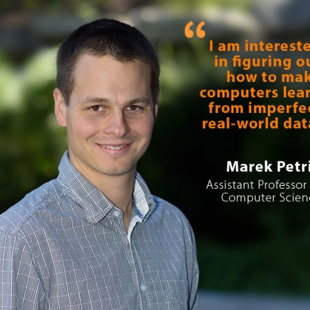 Marek Petrik, UNH Assistant Professor of Computer Science, with quote