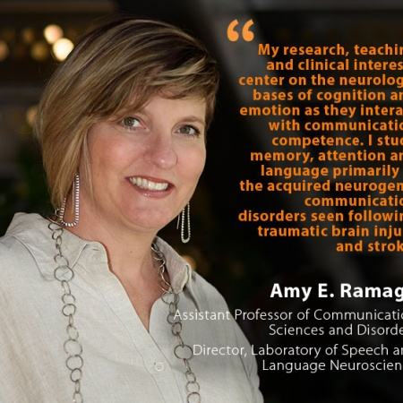 Amy E. Ramage, UNH Assistant Professor of Communication Sciences and Disorders, Director, Laboratory of Speech and Language Neuroscience, and quote