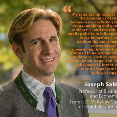 Joseph Sabia, UNH Professor of Business and Economics, Forrest D. McKerley Chair of Health Economics, and quote