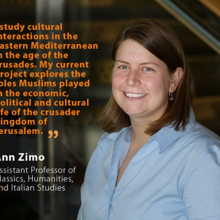 Ann Zimo, UNH Assistant Professor of Classics, Humanities, and Italian Studies, and quote