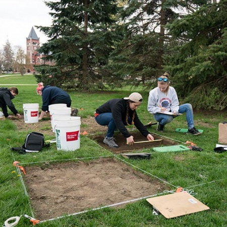 UNH students excavate an archaeological site