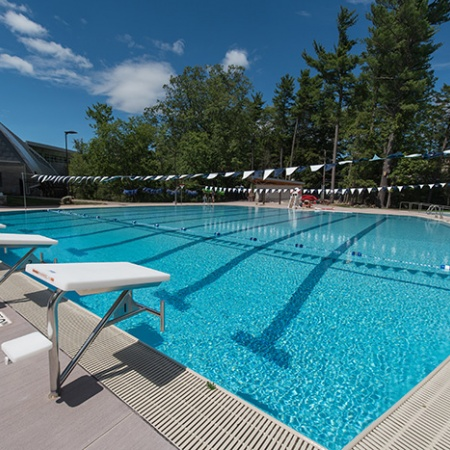 UNH's new outdoor pool diving boards and swimming lanes