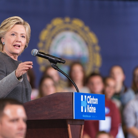 Presidential candidate Hillary Clinton at the podium