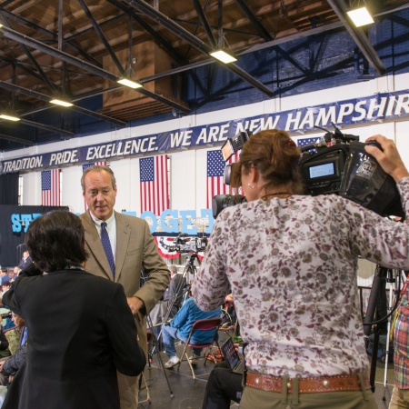 Andrew Smith of the UNH Survey Center being interviewed by national media outlets