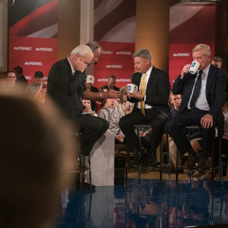 MSNBC's Chris Matthews, interviewing Libertarian presidential and vice presidential candidates Gary Johnson and Bill Weld at UNH