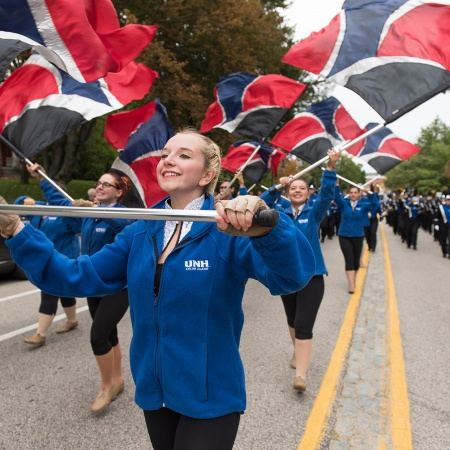 Flag performers leading the parade