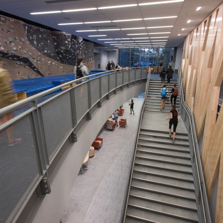 The stairs leading up to the new Hamel Rec Center