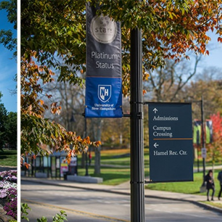 sustainability banners on UNH's Durham campus