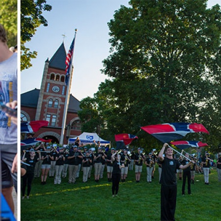 UNH students at University Day; UNH marching band performing in front of Thompson Hall