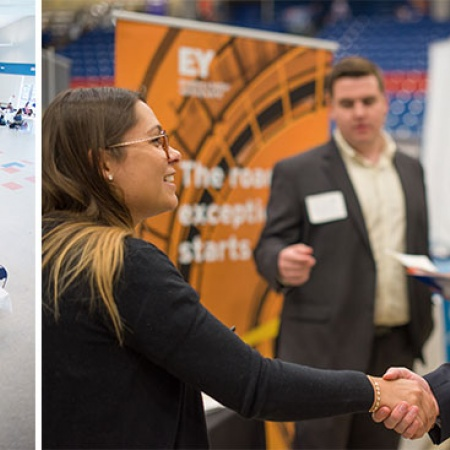 UNH students at resume review day and the UNH career and internship fair