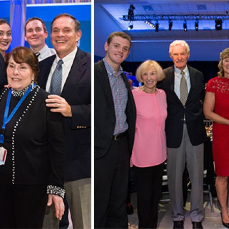 sportswriter and commentator Jackie MacMullan Boyle '82 and UNH alumnus Len Willey '55 with their families at UNH's Evening of Distinction