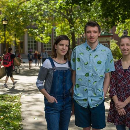 UNH students Erica, Julia and Raymond Zabkar