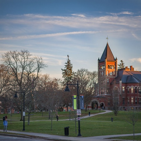 UNH's Thompson Hall at sunset