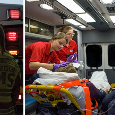 UNH students working with MacGregor EMS