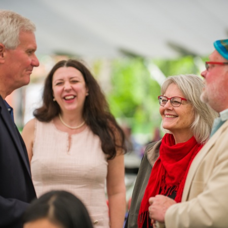 Outgoing UNH president Mark Huddleston with campus community members
