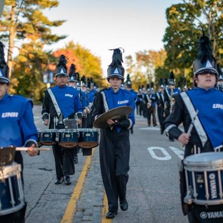 Drummers in UNH's homecoming parade