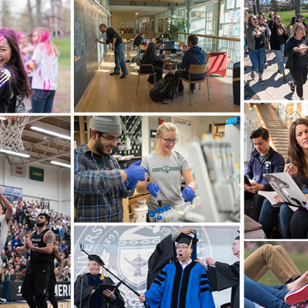 Photo mashup of scenes from UNH spring semester 2016