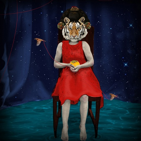 an image of a figure with a tiger head called Tiger, Tiger by UNH student Jane Ham '19