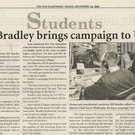 Bill Bradley brings campaign to UNH - TNH article