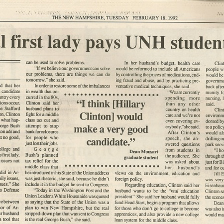 Potential first lady pays UNH students a visit - TNH article